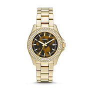AM4526 - Retro Traveler Three-Hand Stainless Steel Watch - Gold-Tone