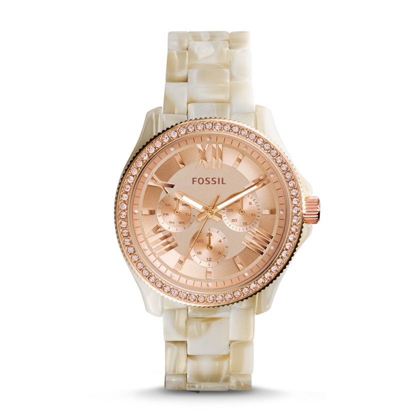 Fossil  Cecile Multifunction Pearlized Resin Watch - Shimmer Horn