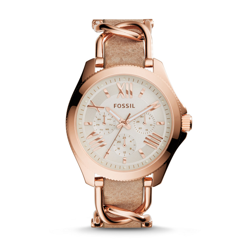 Fossil  Cecile Multifunction Stainless Steel and Leather Watch - Rose