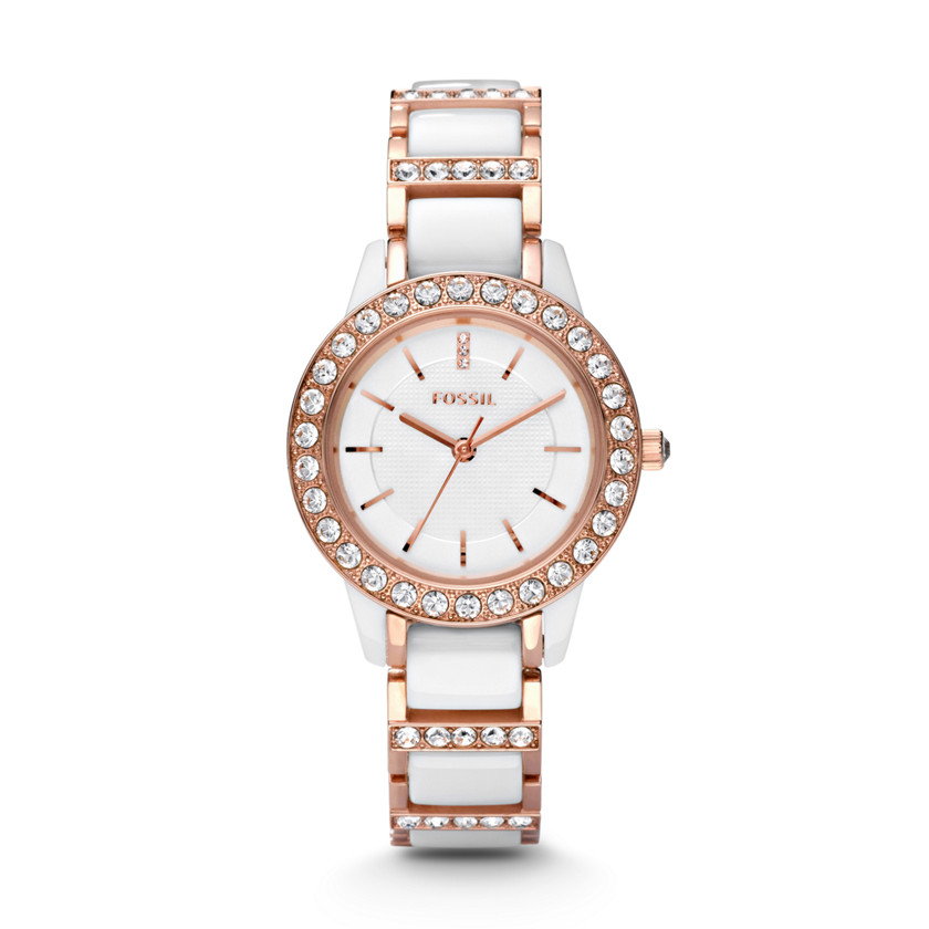 Fossil  Jesse Three Hand Ceramic Watch - White with Rose  22221097