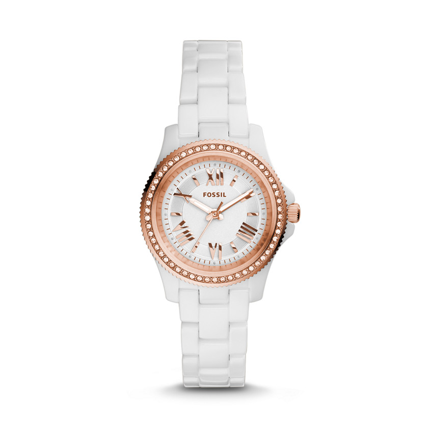 Fossil  Cecile Mini Three-Hand Ceramic Watch - White  New  22575980