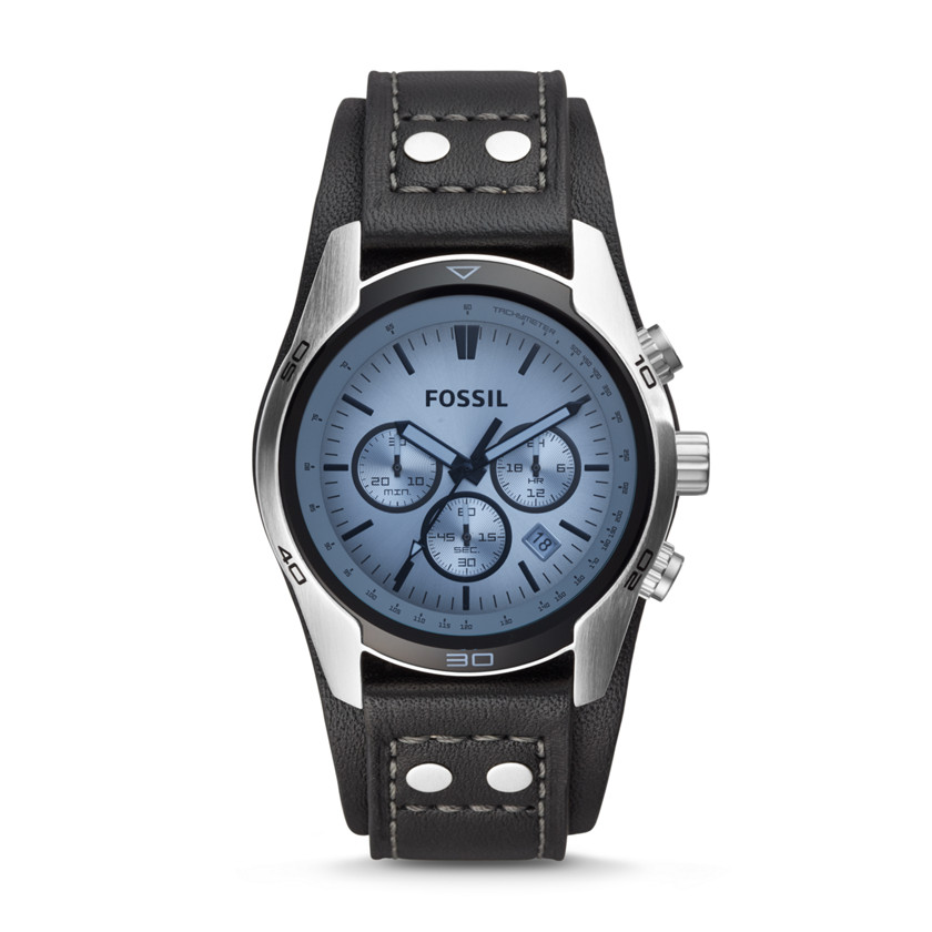 Fossil  Sport Cuff Chronograph Leather Watch - Black  22082037