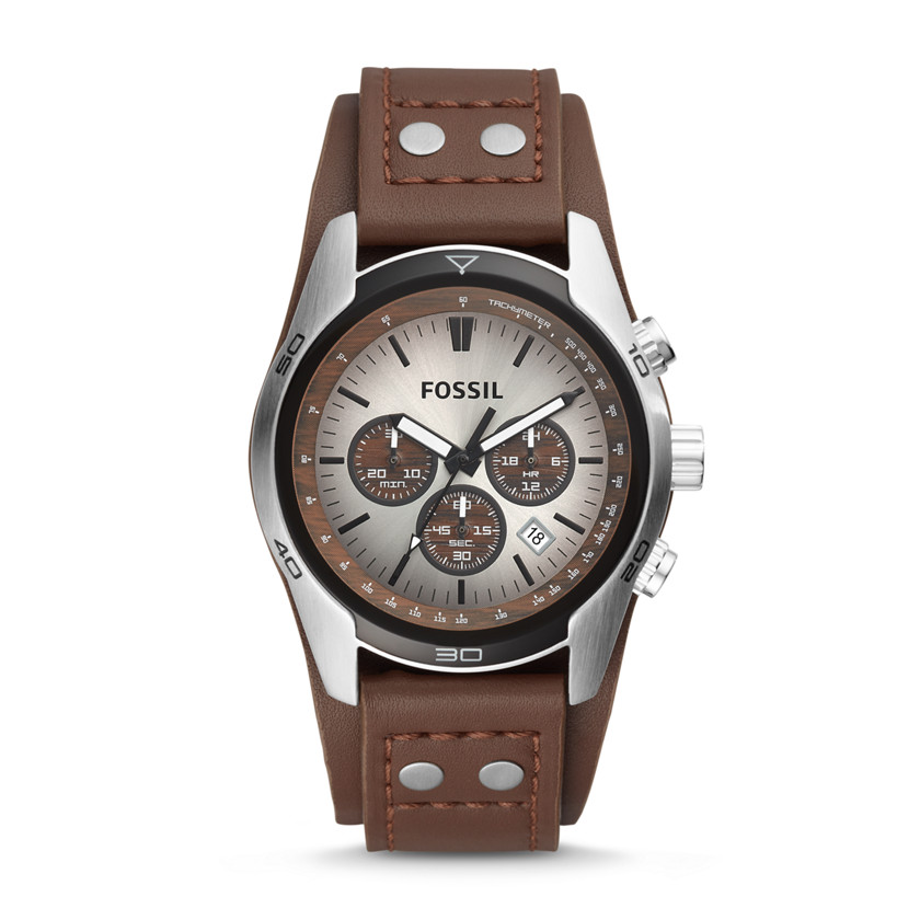 Fossil  Cuff Chronograph Leather Watch - Tan  22082039