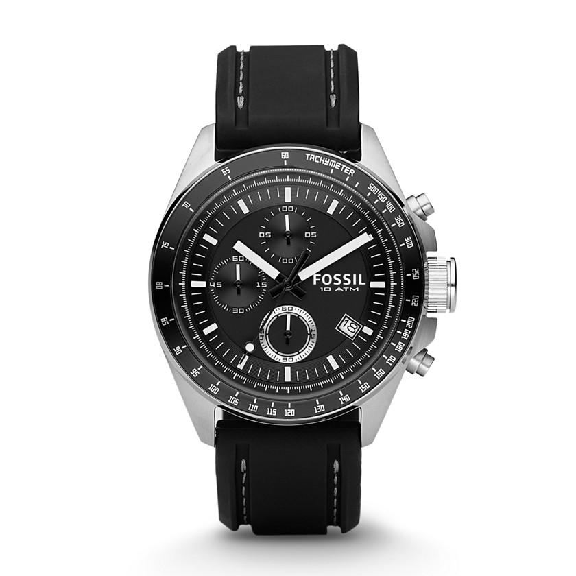 Fossil  Decker Chronograph Silicone Watch - Black  22086196