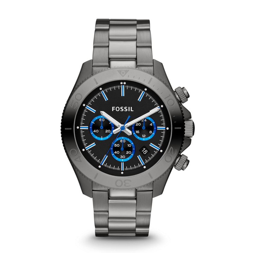 Fossil  Retro Traveler Chronograph Stainless Steel Watch - Smoke