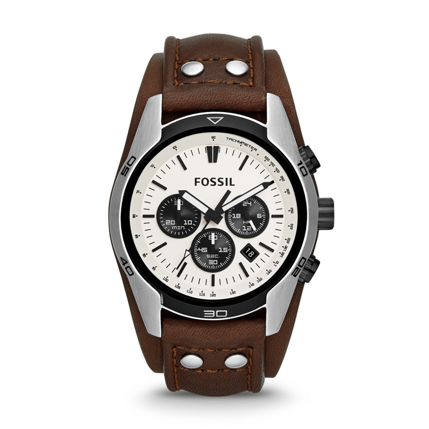 Fossil  Coachman Chronograph Leather Watch - Brown  22444378