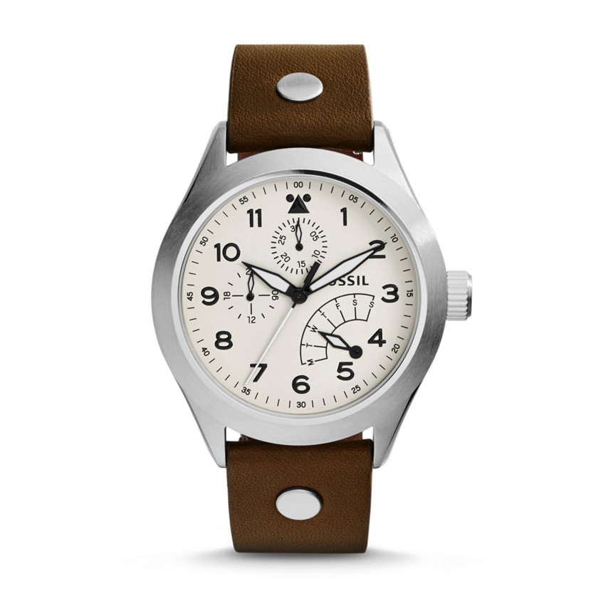 Fossil  The Aeroflite Multifunction Leather Watch - Brown  22575816