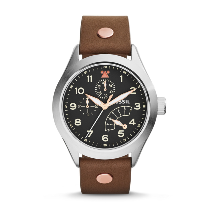 Fossil  The Aeroflite Multifunction Leather Watch - Brown  22575818