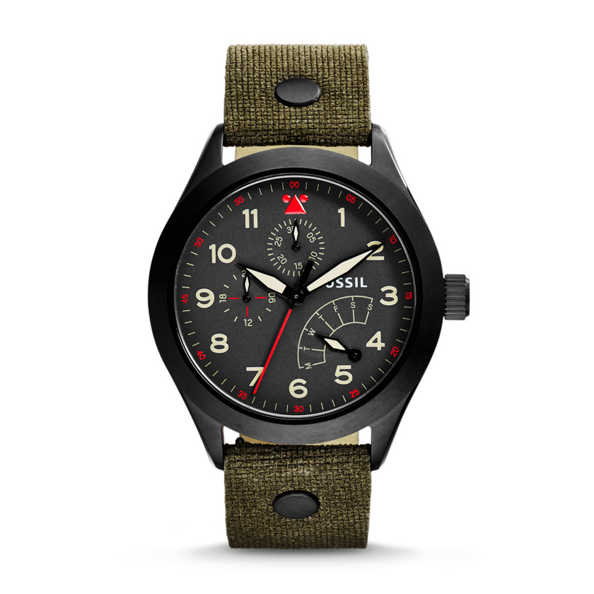 Fossil  The Aeroflite Multifunction Leather Watch - Olive  22575822
