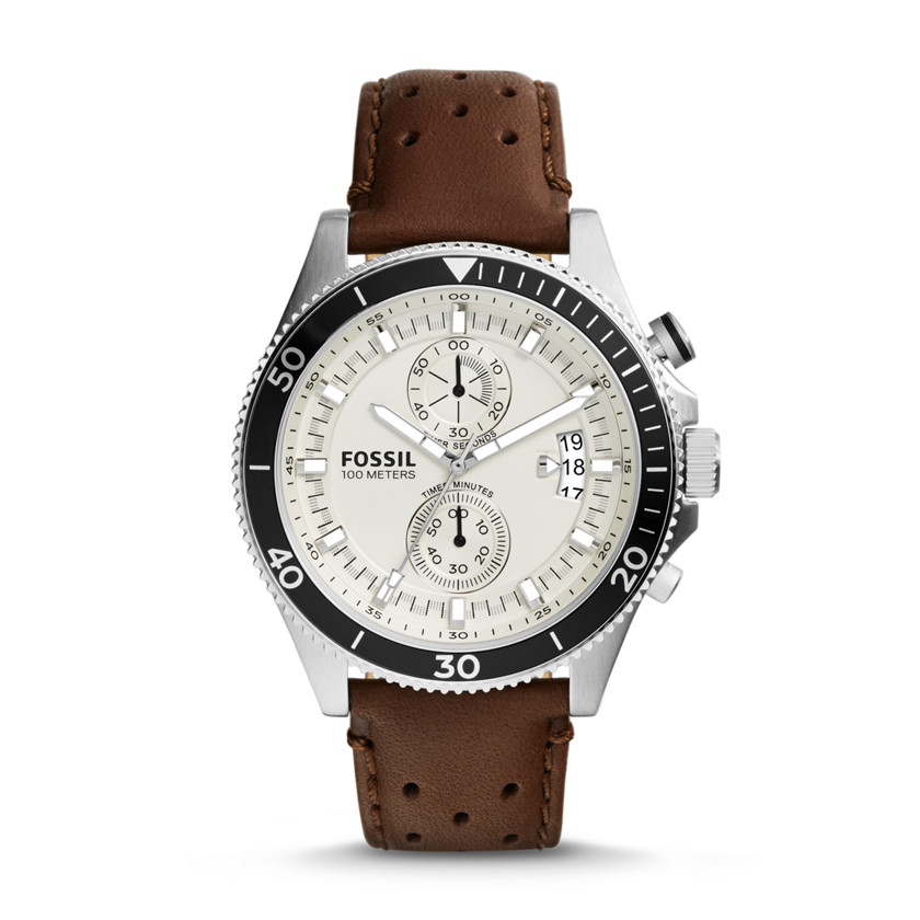 Fossil  Wakefield Chronograph Leather Watch - Brown  22575826