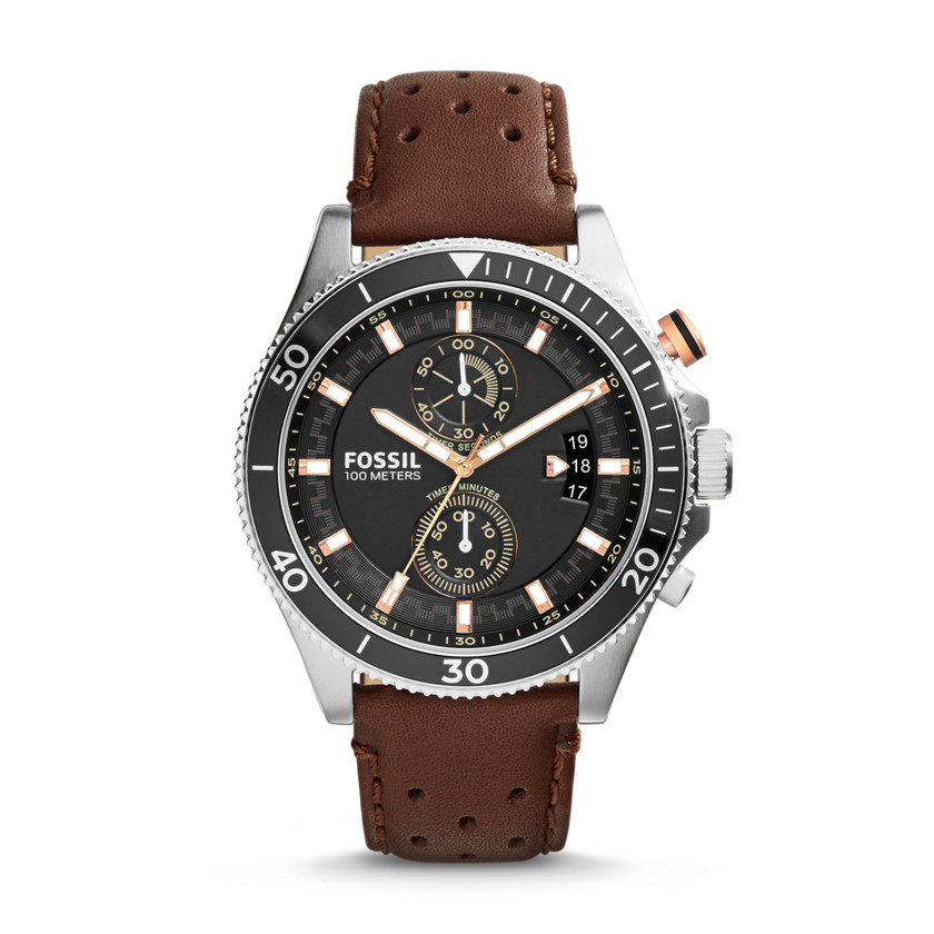 Fossil  Wakefield Chronograph Leather Watch - Brown  22575828