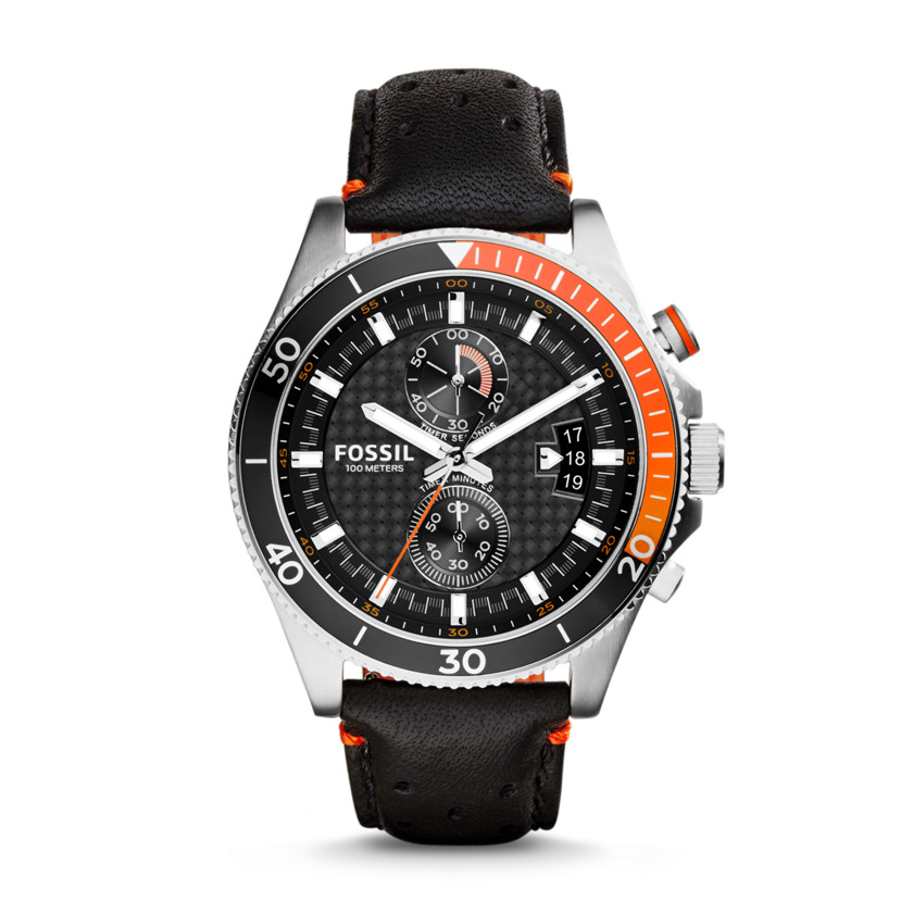 Fossil  Wakefield Chronograph Leather Watch - Black  New  22575986
