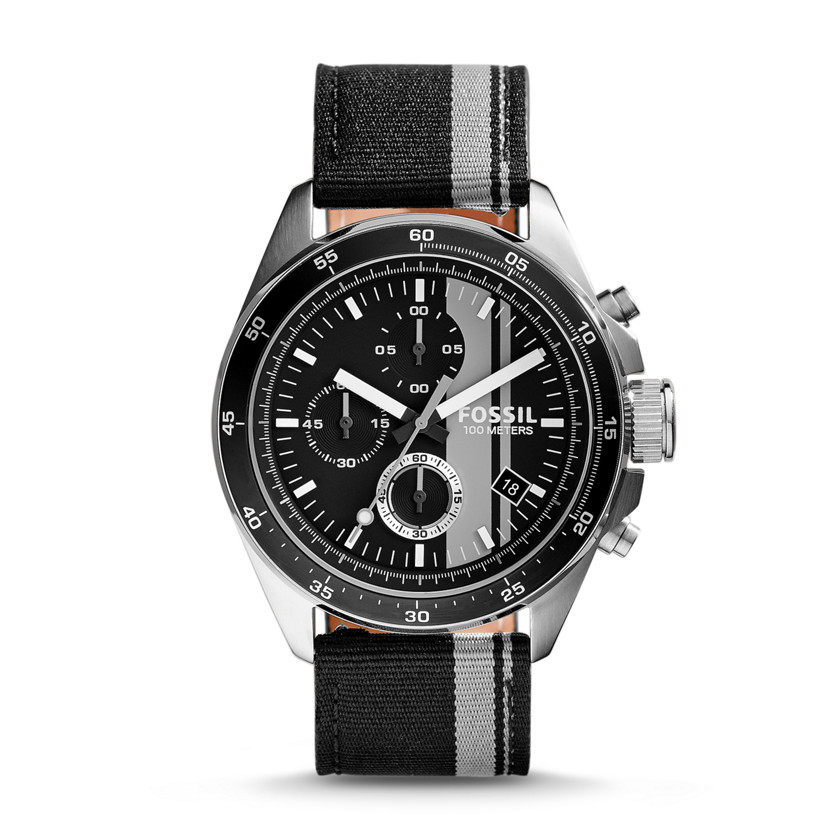 Fossil  Decker Chronograph Nylon Watch - Black and Gray  New  22602376