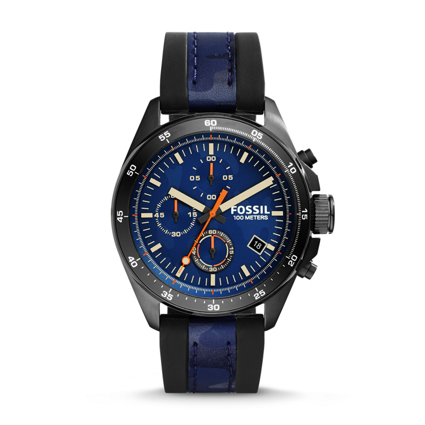 Fossil  Decker Chronograph Silicone and Leather Watch - Black and