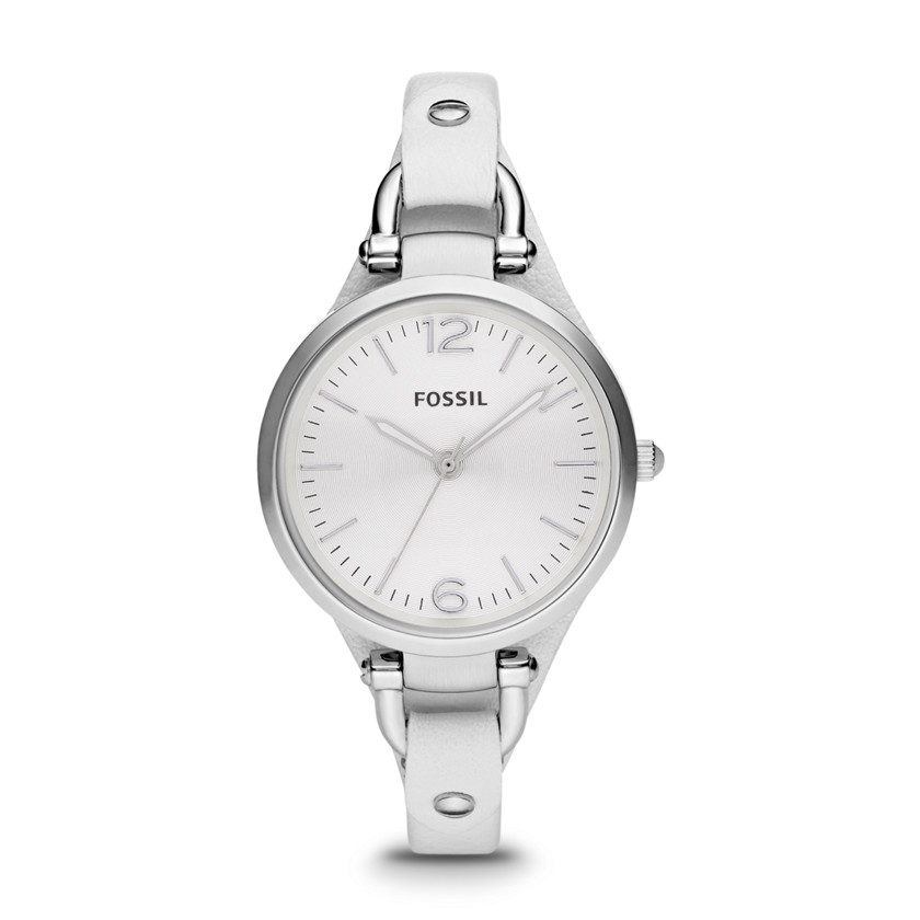 Fossil  Georgia Three Hand Leather Watch - White  22221131