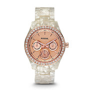 ES2887 - Stella Multifunction Resin Watch - Pearlized White with Rose