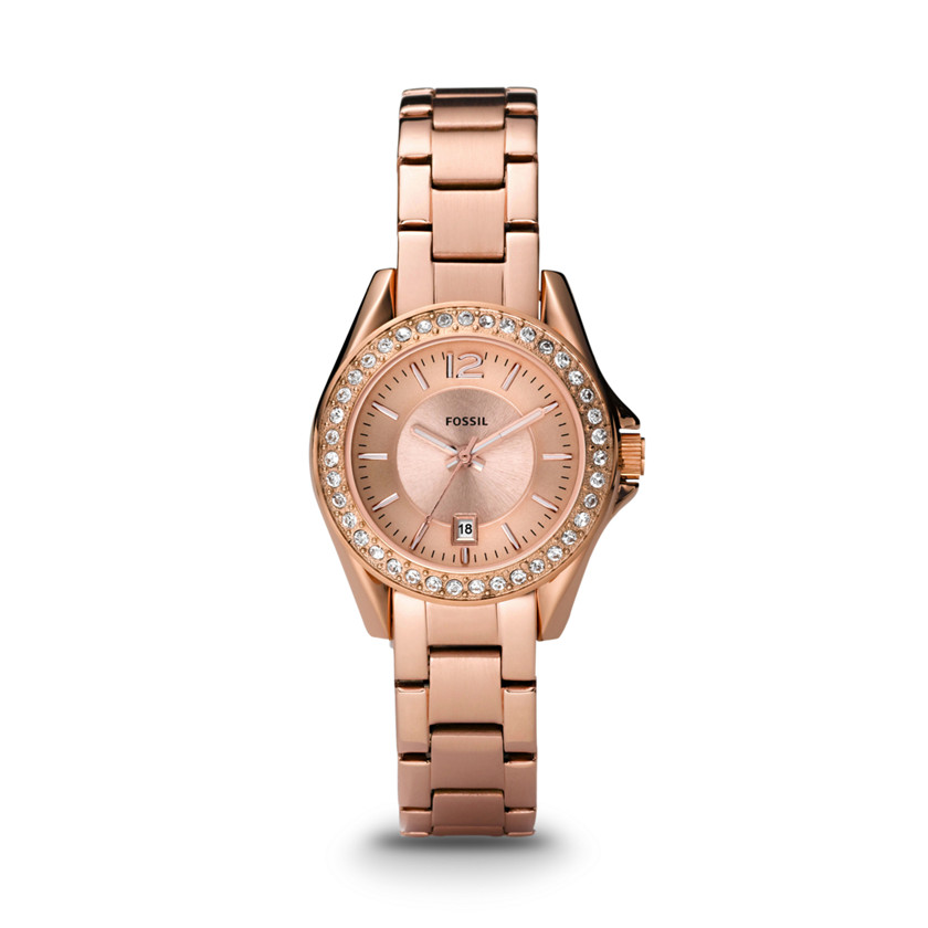 Fossil  Riley Mini Three Hand Stainless Steel Watch - Rose  22221193