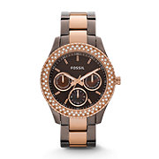 ES2955 - Stella Multifunction Stainless Steel Watch - Brown and Rose