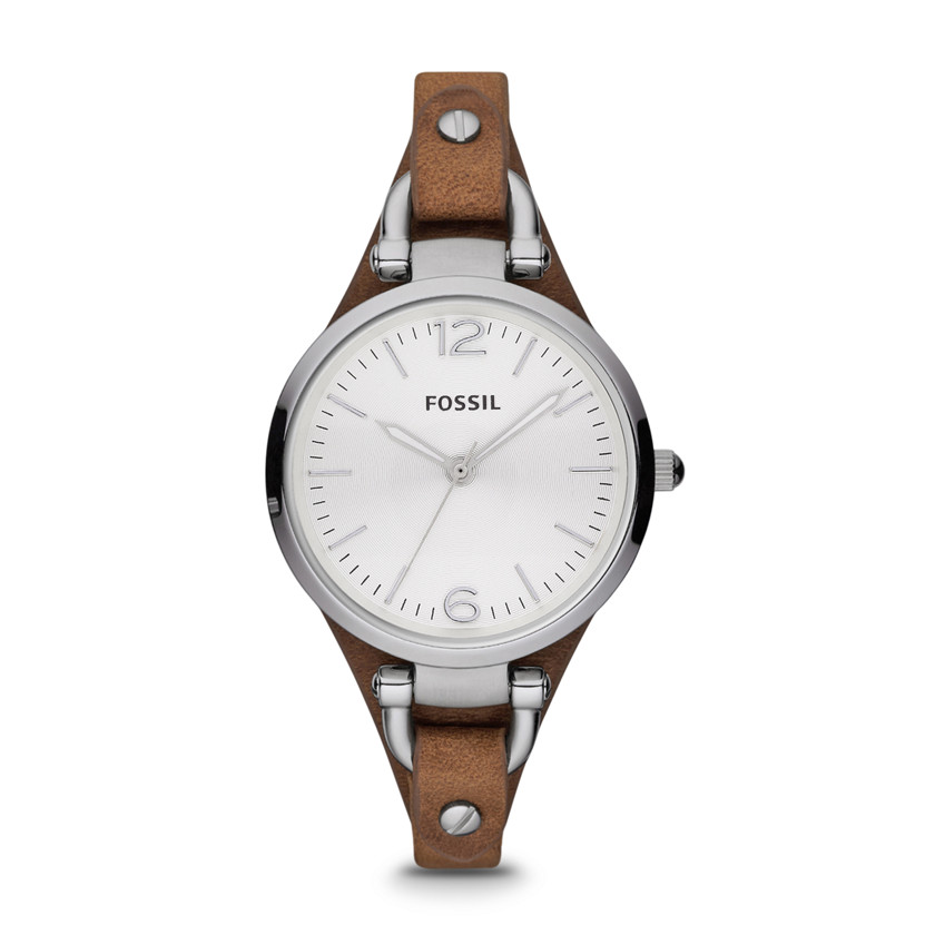 Fossil  Georgia Three Hand Leather Watch - Tan  22298367