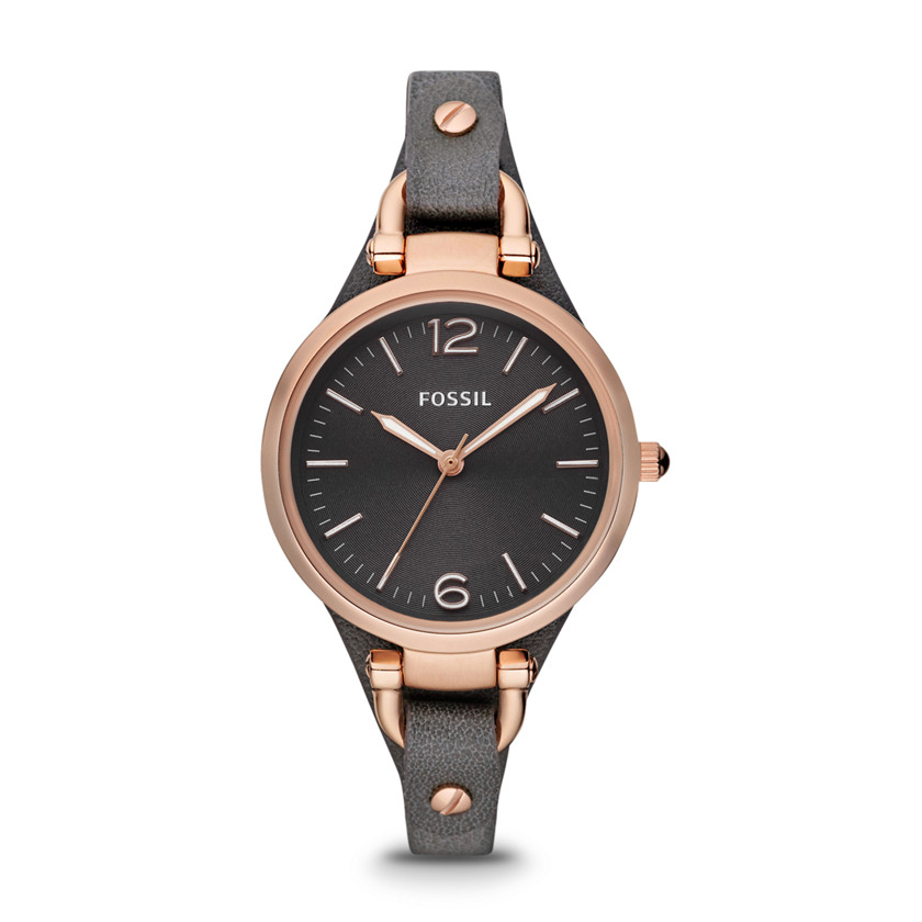 Fossil  Georgia Three Hand Leather Watch - Smoke and Rose  22298399