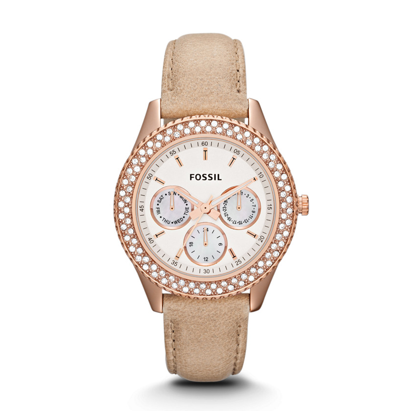 Fossil  Stella Multifunction Leather Watch - Sand  22345354