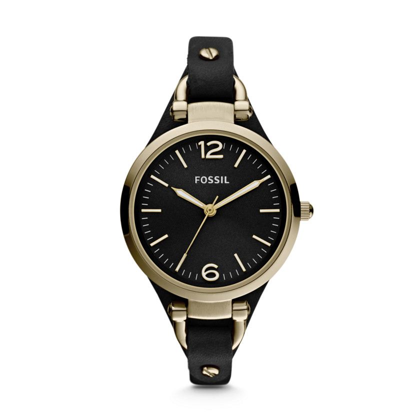Fossil  Georgia Three Hand Leather Watch - Black  22346340