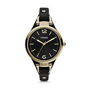 ES3148 - Georgia Three Hand Leather Watch - Black