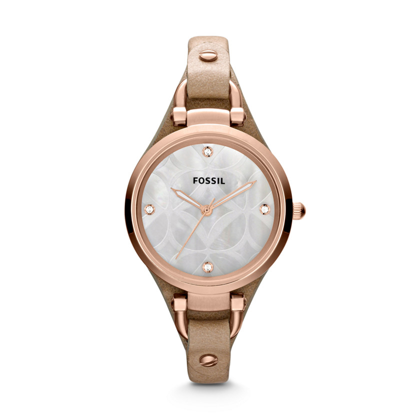 Fossil WOMEN 22368346 Georgia Three Hand Leather Watch - Sand
