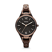 ES3200 - Georgia Three Hand Leather Watch - Brown