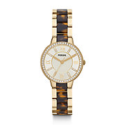 ES3314 - Virginia Three Hand Stainless Steel Watch - Gold-Tone with Tort