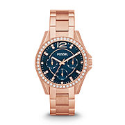 ES3341 - Riley Multifunction Stainless Steel Watch - Rose