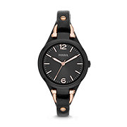 ES3453 - Georgia Three-Hand Leather Watch - Black