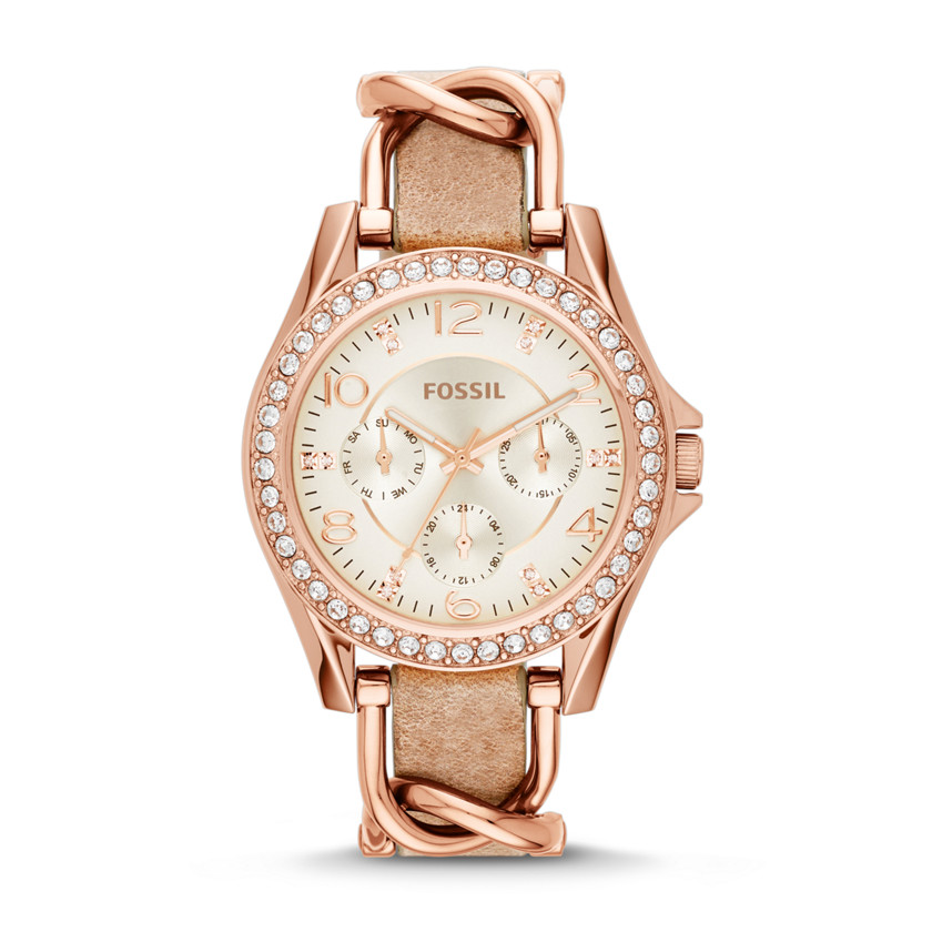 Fossil  Riley Multifunction Stainless Steel and Leather Watch - Rose