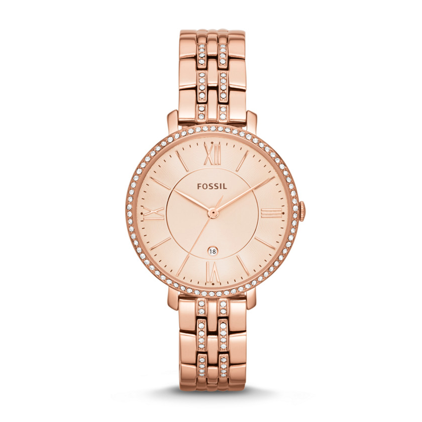 Fossil  Jacqueline Three-Hand Date Stainless Steel Watch - Rose