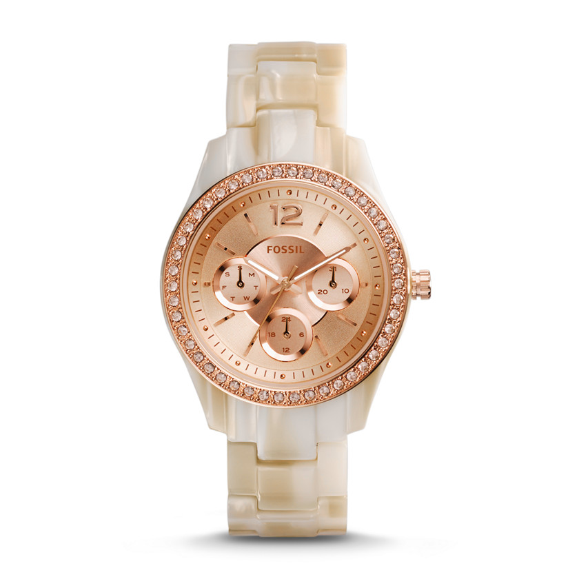 Fossil  Stella Multifunction Pearlized Resin Watch - Shimmer Horn