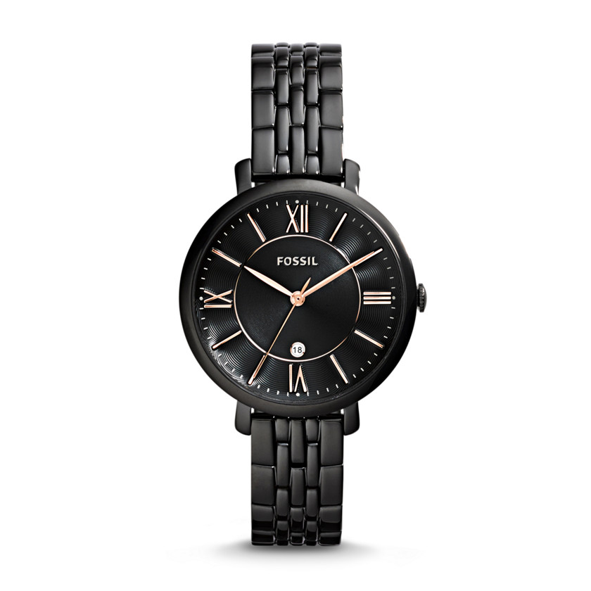 Fossil  Jacqueline Three-Hand Date Stainless Steel Watch - Black