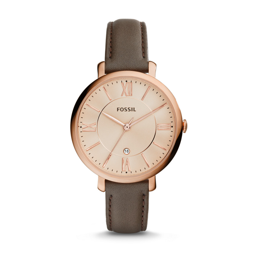 Fossil  Jacqueline Three-Hand Date Leather Watch - grey  22575880