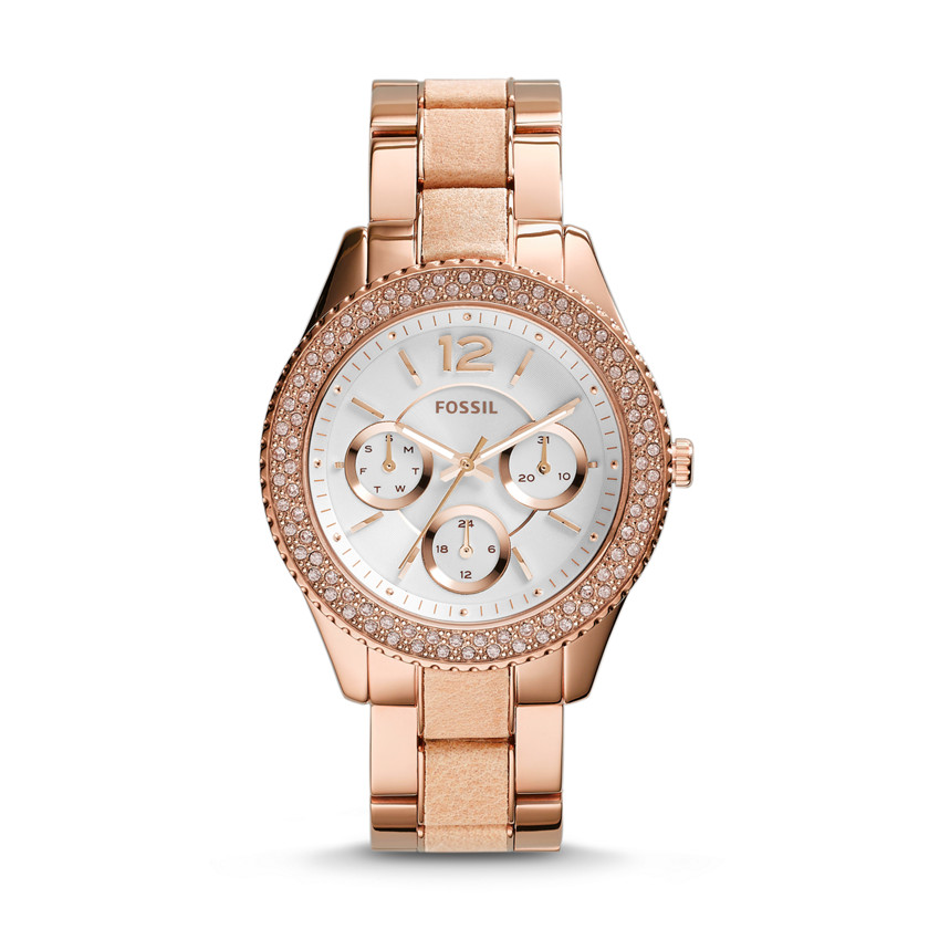 Fossil  Stella Multifunction Stainless Steel and Leather Watch - Rose