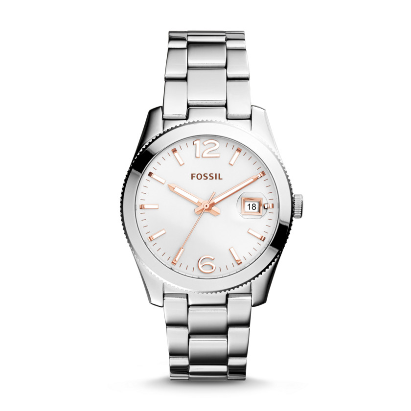 Fossil  Perfect Boyfriend Three-Hand Date Stainless Steel Watch  New