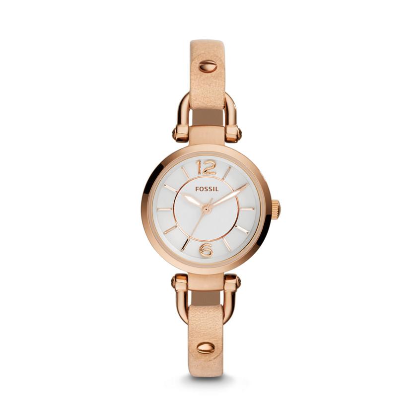 georgia three hand leather watch bone es3745 fossil. Black Bedroom Furniture Sets. Home Design Ideas