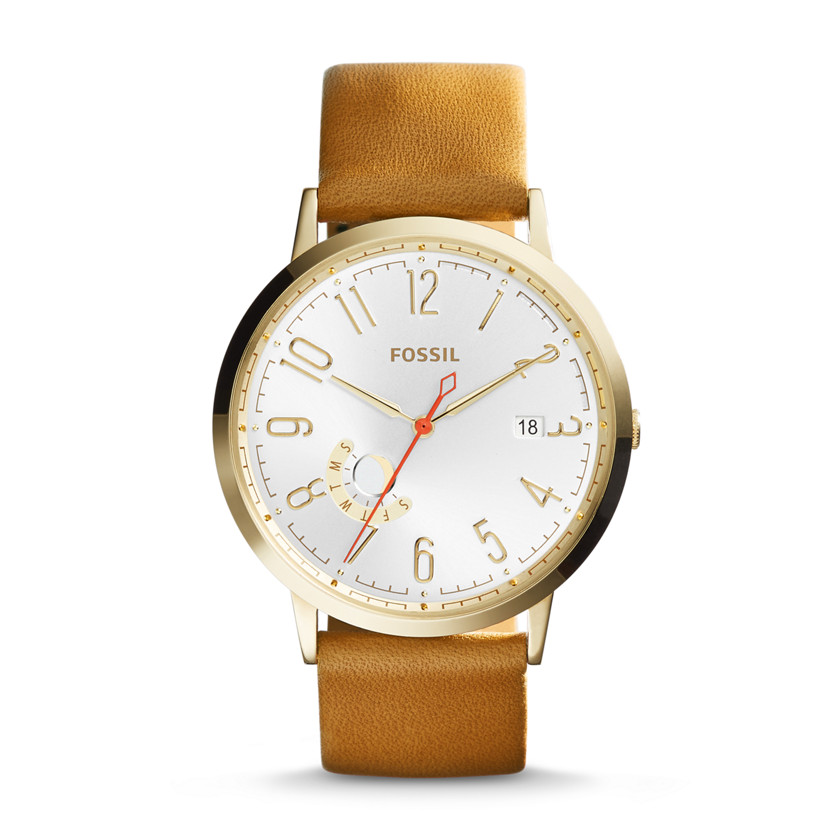 Fossil  Vintage Muse Three-Hand Day/Date Leather Watch - Tan  New