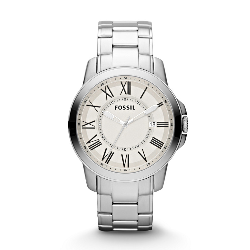 Fossil  Grant Three-Hand Date Stainless Steel Watch  22345430