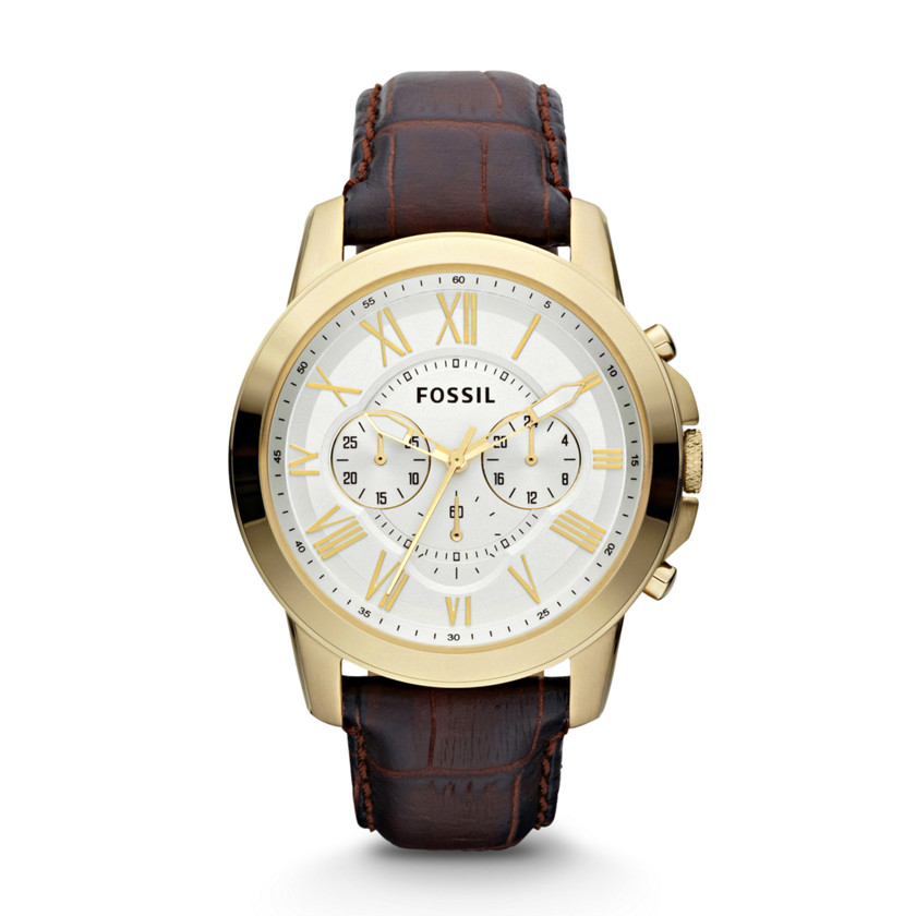 Fossil  Grant Chronograph Leather Watch - Brown  22368450