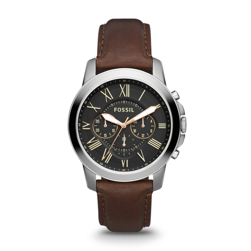 Fossil  Grant Chronograph Leather Watch - Brown  22436543