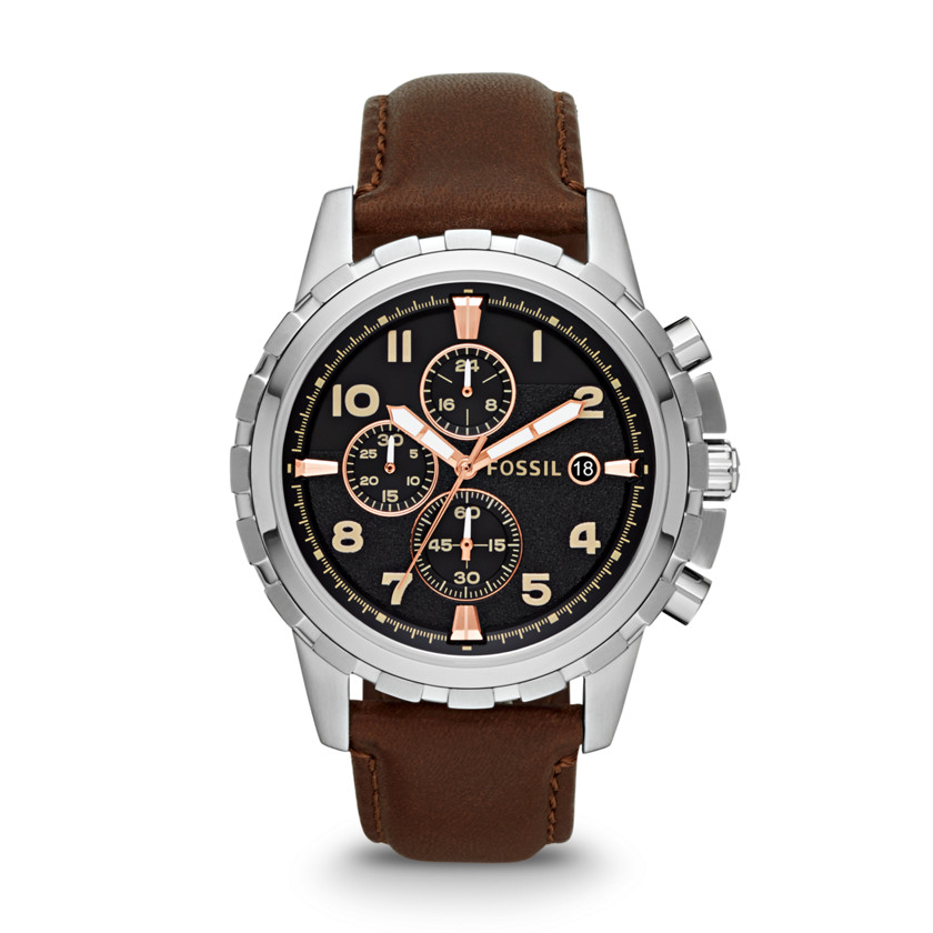 Fossil  Dean Chronograph Leather Watch - Brown  22444502