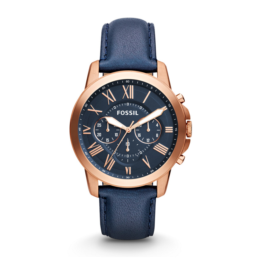 Fossil  Grant Chronograph Leather Watch - Blue  22444514