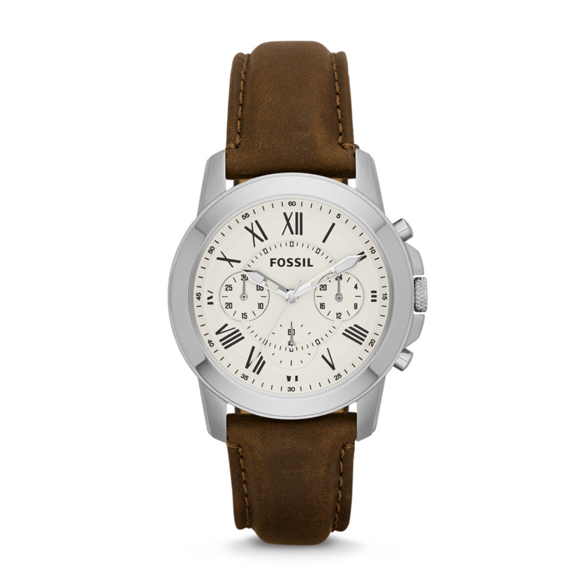 Fossil  Grant Chronograph Leather Watch - Brown  22456649