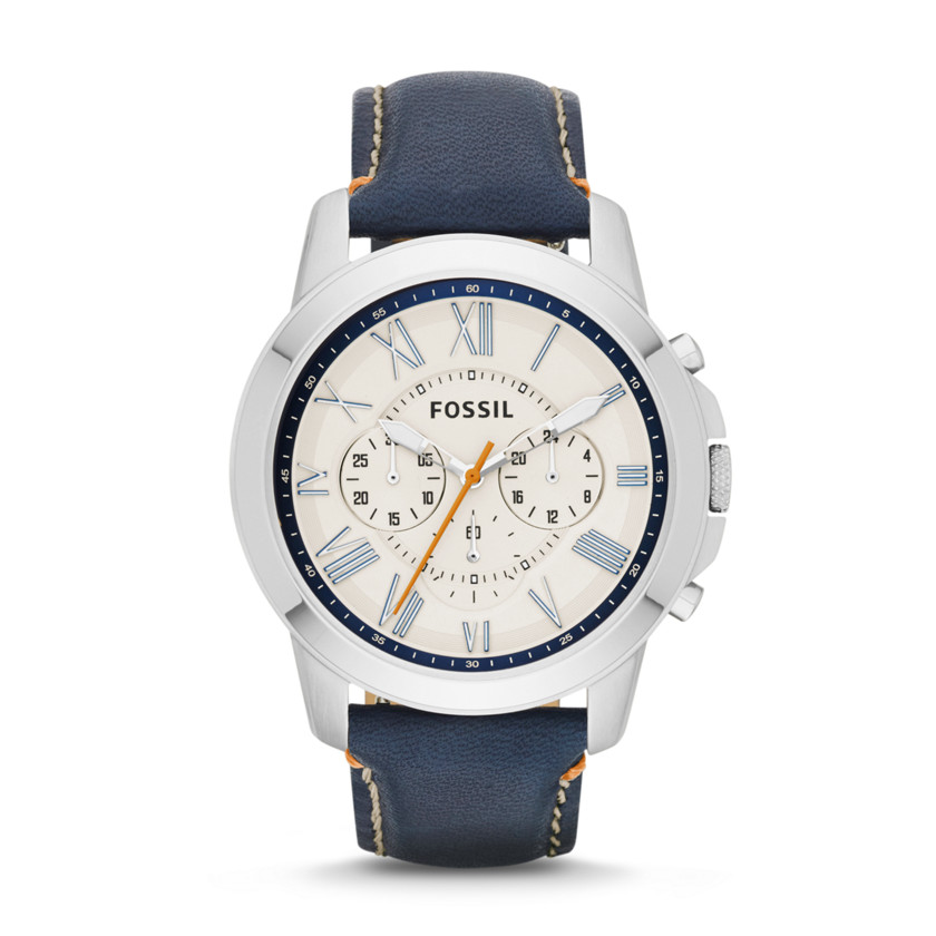 Fossil  Grant Chronograph Leather Watch - Dark Blue  22544334