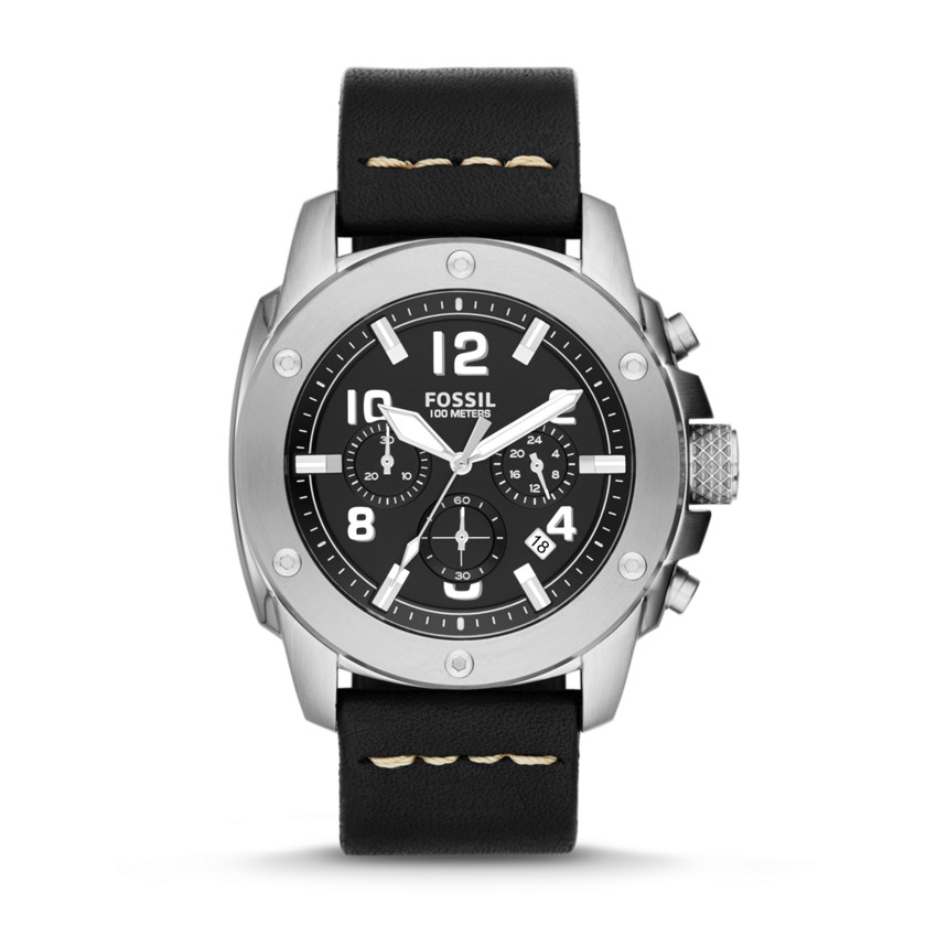 Fossil  Modern Machine Chronograph Leather Watch - Black  22544340