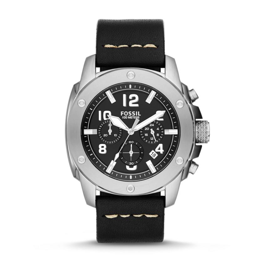 Fossil  Modern Machine Chronograph Leather Watch - Black  22544340